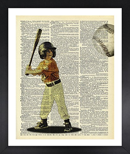 l Art Baseball Boy Picture Dictionary Print Vintage 8x10 Upcycled Abstract For Home Decor Decorations For Living Room Bedroom Office Ready-to-Frame (Personalized Autographed Baseball)