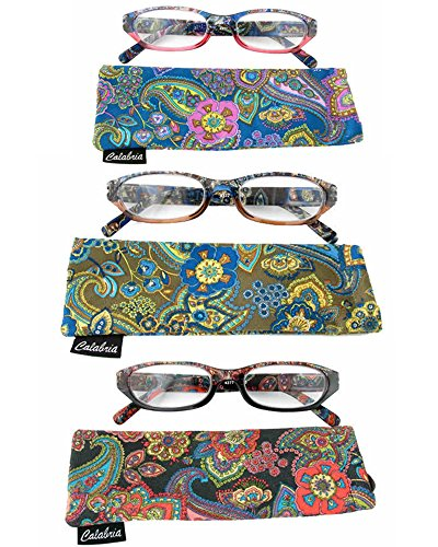 Calabria 4377 Reading Glasses w/ Floral Designs & Matching Case 3-PACK Variety - Reading Glasses Floral