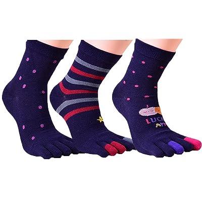 ACMEDE - Lot de 3 Paires de Chaussettes Motifs Avec Orteils Séparés En Coton Confortable Respirant Pour Femme - Doigts de Pied