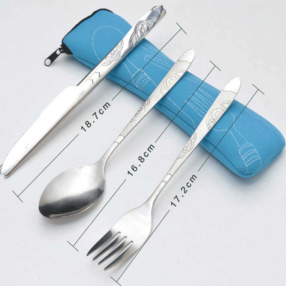 2 piezas Vajilla de mesa de acero inoxidable liviano con estuche de transporte perfecto para viajar Picnic en camping tenedores cucharas Ankamal Elec 6 PCS Juegos de cubiertos Cuchillos