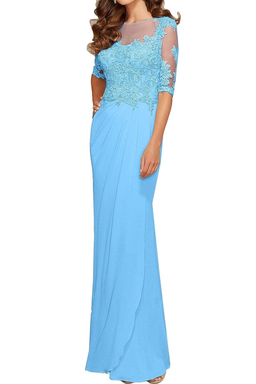 0ee1f67595f68c Wecharm Damen Glamour Blau Spitze Chiffon Abendkleider Ballkleider  Promkleider Lang mit Arm: Amazon.de: Bekleidung