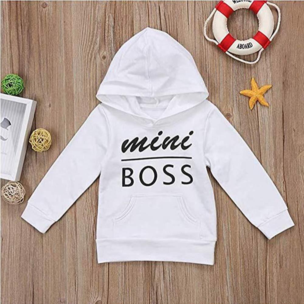 huohui-dedian Baby Jungen M/ädchen Mini Boss Hoodie Tops Casual Langarm Tops Hoodies mit Taschen Sweatshirts