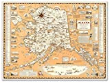 """Pictorial Map of Alaska by Alaska News Agency circa 1959 - measures 24"""" high x 32"""" wide (610mm high x 813mm wide)"""