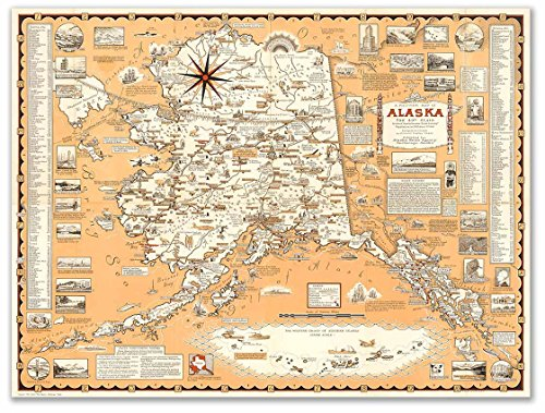 Pictorial Map - Pictorial Map of Alaska by Alaska News Agency circa 1959 - measures 24