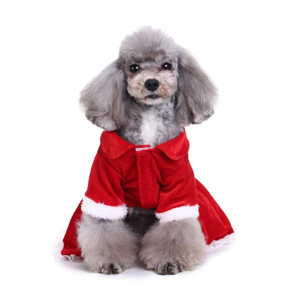 Christmas Pet Dress, Puppy Dog Cat Winter Warm Coat Comfort Doggie Costume Festival Dress
