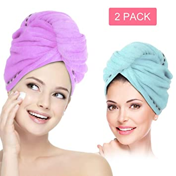 N//AA Microfiber Towels Hair Turban Wraps Set Quick Dry Hair Towel with Loop and Button Fastener Travel Hooded Cap Super Absorbent Hair Drying Towel with Makeup Headband for Women Pink