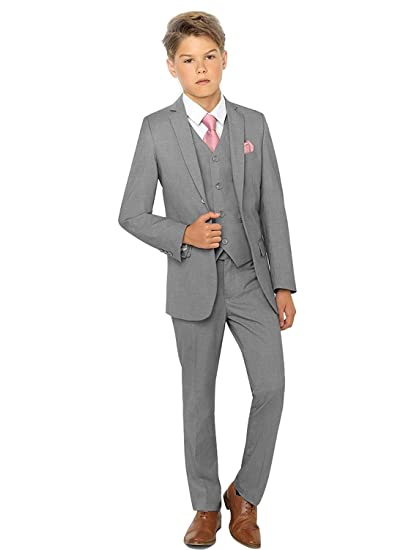 Amazon.com: SHENLINQIJ Boys Grey Formal Suits Silm Fit ...
