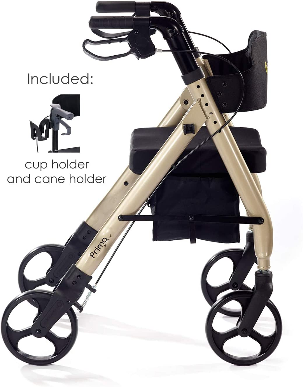"Comodita Prima Special Rollator Walker with Exclusive 16"" Wide Ultra Comfortable Orthopedic Seat, Removable Cup Holder and Cane Holder - Metallic Champagne 616-TOS0m4L"