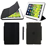 ProElite Ultra Thin Smart Flip Foldable Flip Case cover for Apple iPad Mini 1/2/3 Tablet with Stylus Pen (Sleep/wakeup) (Black) (Front + Back Protection)