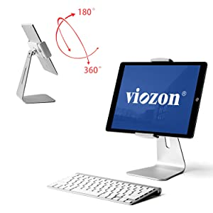 Viozon ipad Pro Stand, Tablet Stands 360° Rotatable Aluminum Alloy Desktop Mount Stand for Ipad Pro Ipad Air Ipad Mini Surface and Surface Pro (Silver General)