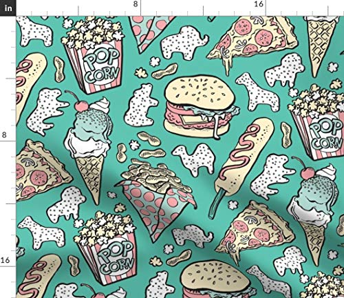 - Food Fabric - Circus! In Mint Circus Popcorn Animal Crackers Ice Cream Snacks Burger Corndog Cookies Print on Fabric by the Yard - Modern Jersey - for Fashion Apparel Clothing with 4-Way Stretch