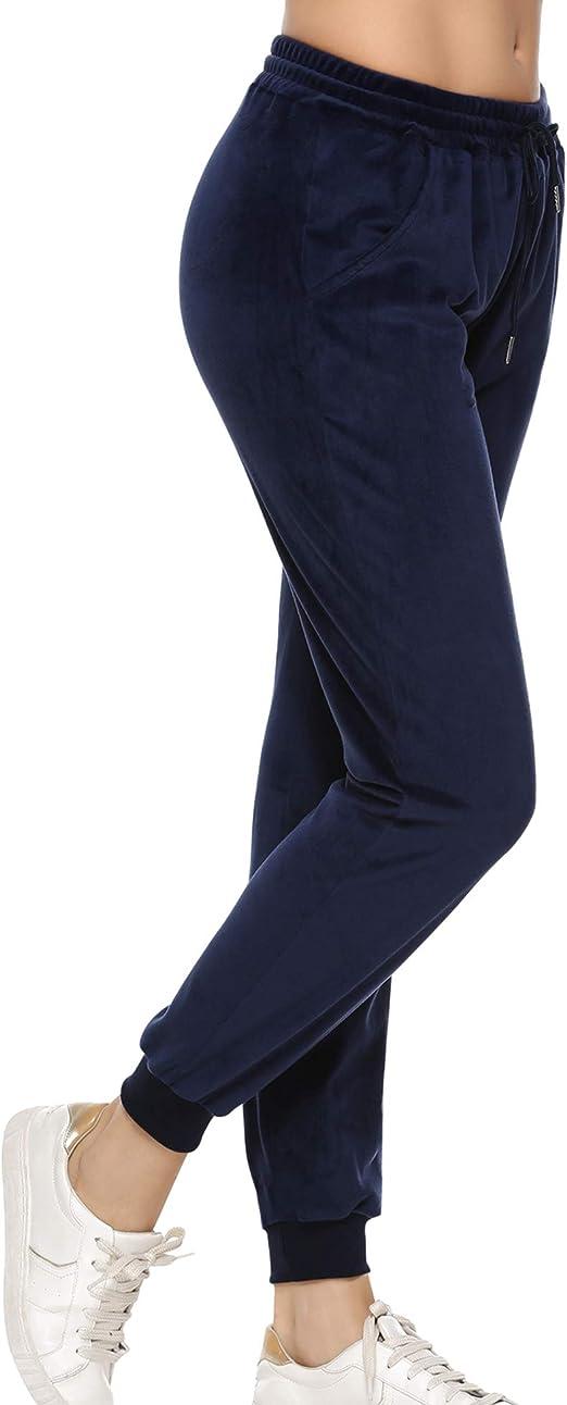 Aibrou Pantalones Deportivo para Mujer, Chandal Terciopelo con Cordones Bolsillos para Yoga Jogger Deporte en Casa, Pijamas: Amazon.es: Ropa y accesorios
