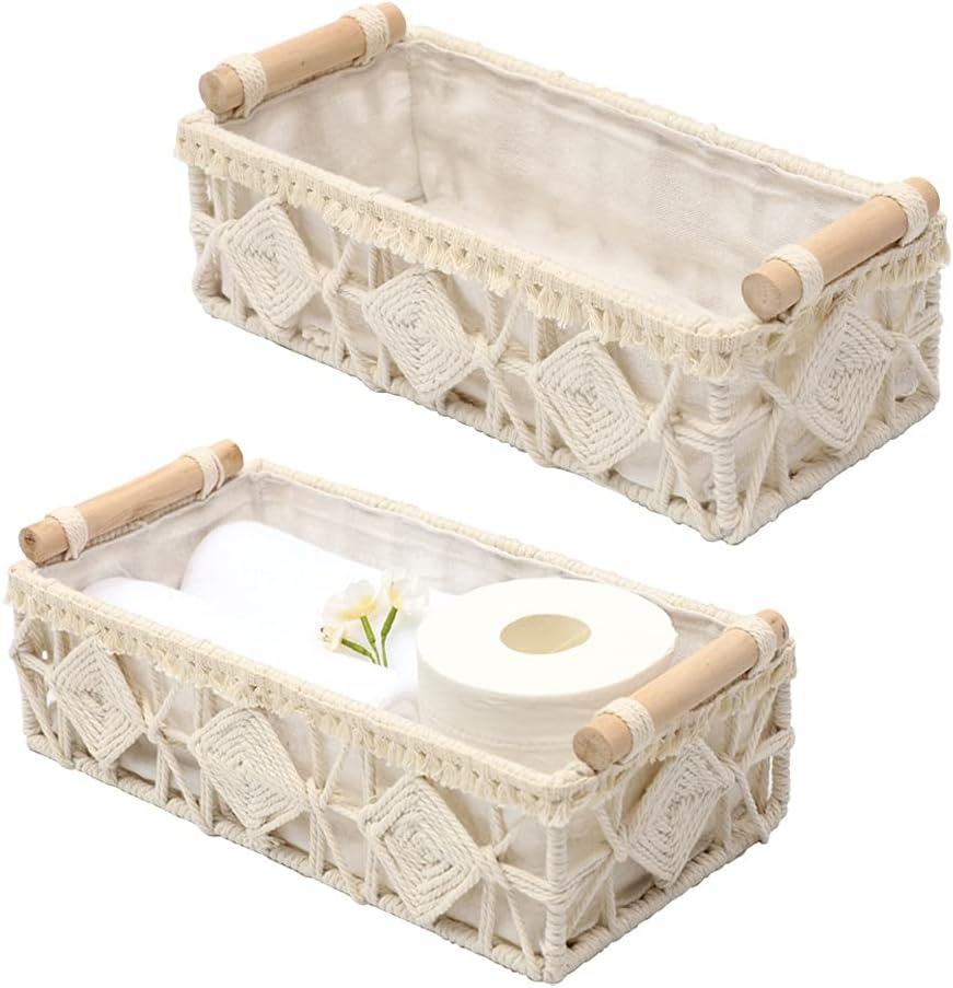 DUOER Macrame Storage Basket Boho Decor Baskets for Organizing Woven Decorative Basket for Countertop Toilet Paper Basket for Toilet Tank Top Shelf Basket with Handle for Bathroom Bedroom Nursery Livingroom Entryway (Set of 2)