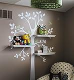 "Shelving Tree Wall Sticker with Birds (Standard Size: Tree Size 55"" w x 94"" h)"