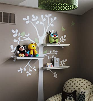 simple shapes shelving tree wall sticker 51 inch by 88 inch - Simple Shapes Wall Design