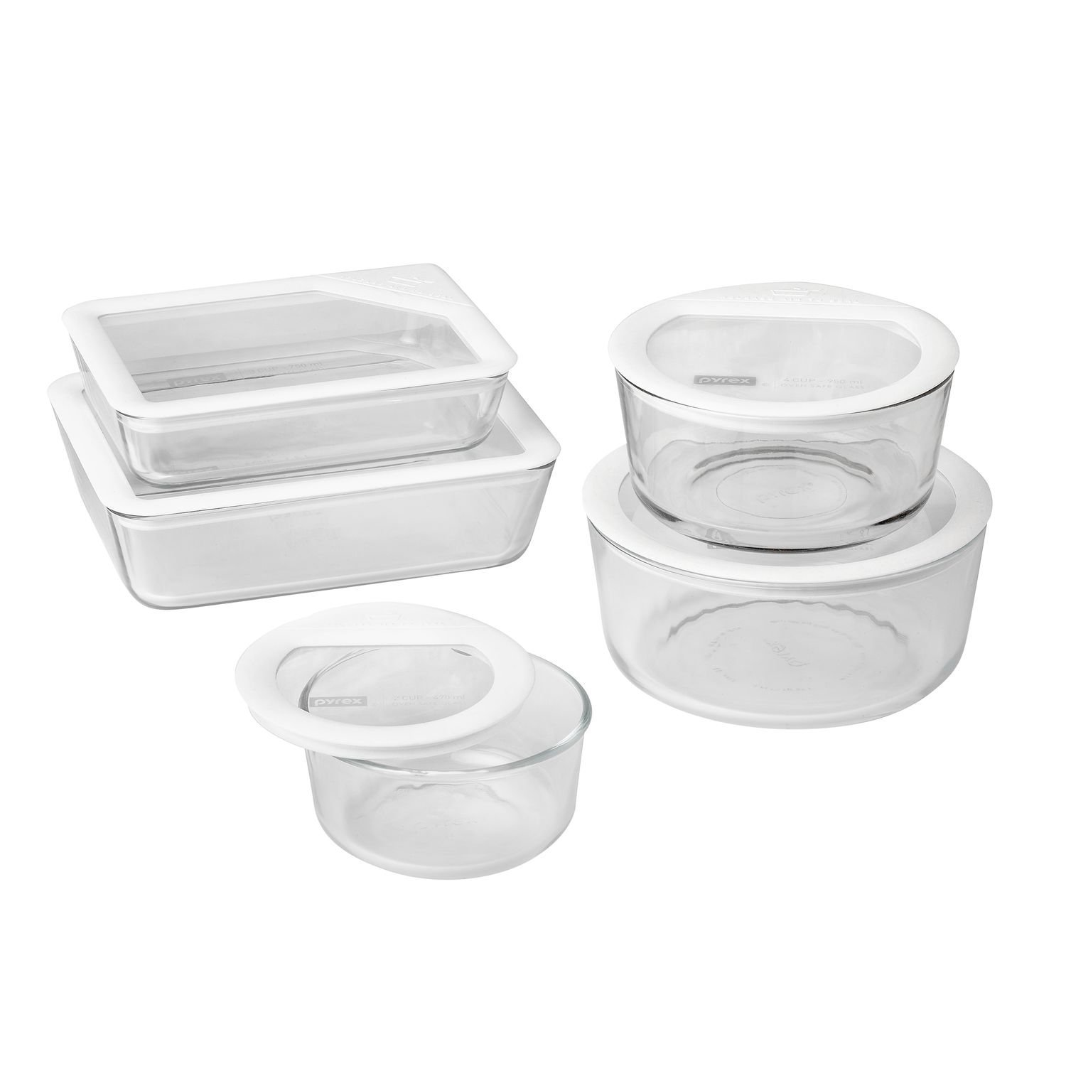 Pyrex 10 Piece Ultimate No Leak Food Storage Set, White And Clear by Pyrex