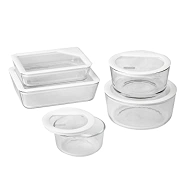 Pyrex 10 Piece Ultimate No-Leak Food Storage Set, White and Clear