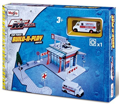 Maisto Fresh Metal Hospital Build n Play Set Construction Building Toy with Ambulance by (Fresh Metal)