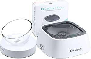 LumoLeaf No Spill Water Bowl for Dogs + Raised Dog Cat Bowl, No-Spill & Elevated Cat Food and Water Bowl Set, Indoor Pet Feeder and Waterer Accessories, Dishwasher Safe.