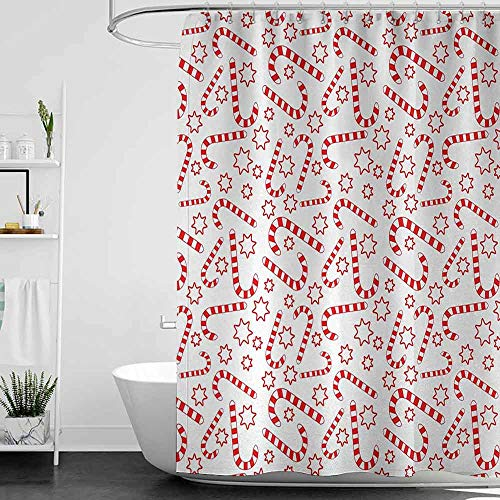 homecoco Shower Curtains for Bathroom Pictures Candy Cane,Illustration of Xmas Themed Figures Traditional Candies and Stars Seasonal,Vermilion White W69 x L72,Shower Curtain for Shower stall