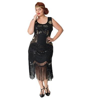 Unique Vintage Plus Size 1920s Style Black Beaded Fringe Raina