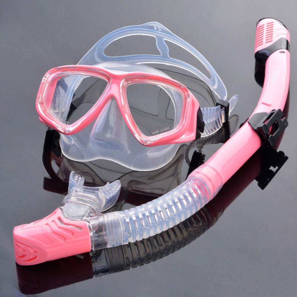 Diving Diving Mask Goggles with Ventilation Pipe Tempered Glass with Nose Cover Easy Breath Wide View Anti Leak for Snorkeling Kecar Snorkel Set Swimming Blue