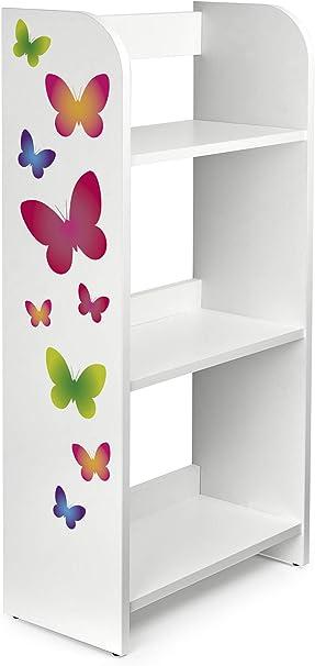 Leomark Estantería de Madera para Niños - Mariposas - Tres Estantes, Librero para Dormitorio, Altura 102,5 cm