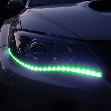Amazon.com: Car LED Strip Lights, Voberry 2pcs 60cm Car Auto Waterproof LED Flexible Strips Eyebrow Lights Car Interior Strip Lights (Green): Musical ...