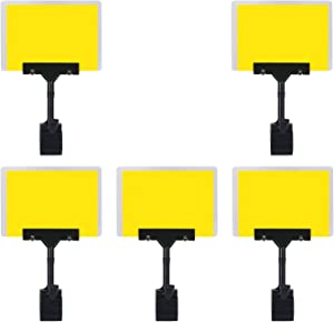 5 Pcs POP Adjustable Plastic Sign Holder,Clip-on Style Double Head Display Clips Rotating Reuse Sign Price Tag Merchandise Sign Display Clip Holder for Business,Store,Supermarket,Office,Exhibition