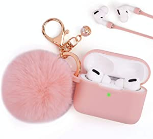 Airpods Pro Case, Airpod Pro Protective Cover Case for Apple AirPods Pro Charging Case 2019, FILOTO Cute AirPods 3 Accessories Silicone Case Keychain/Pompom/Skin/Strap, Pink