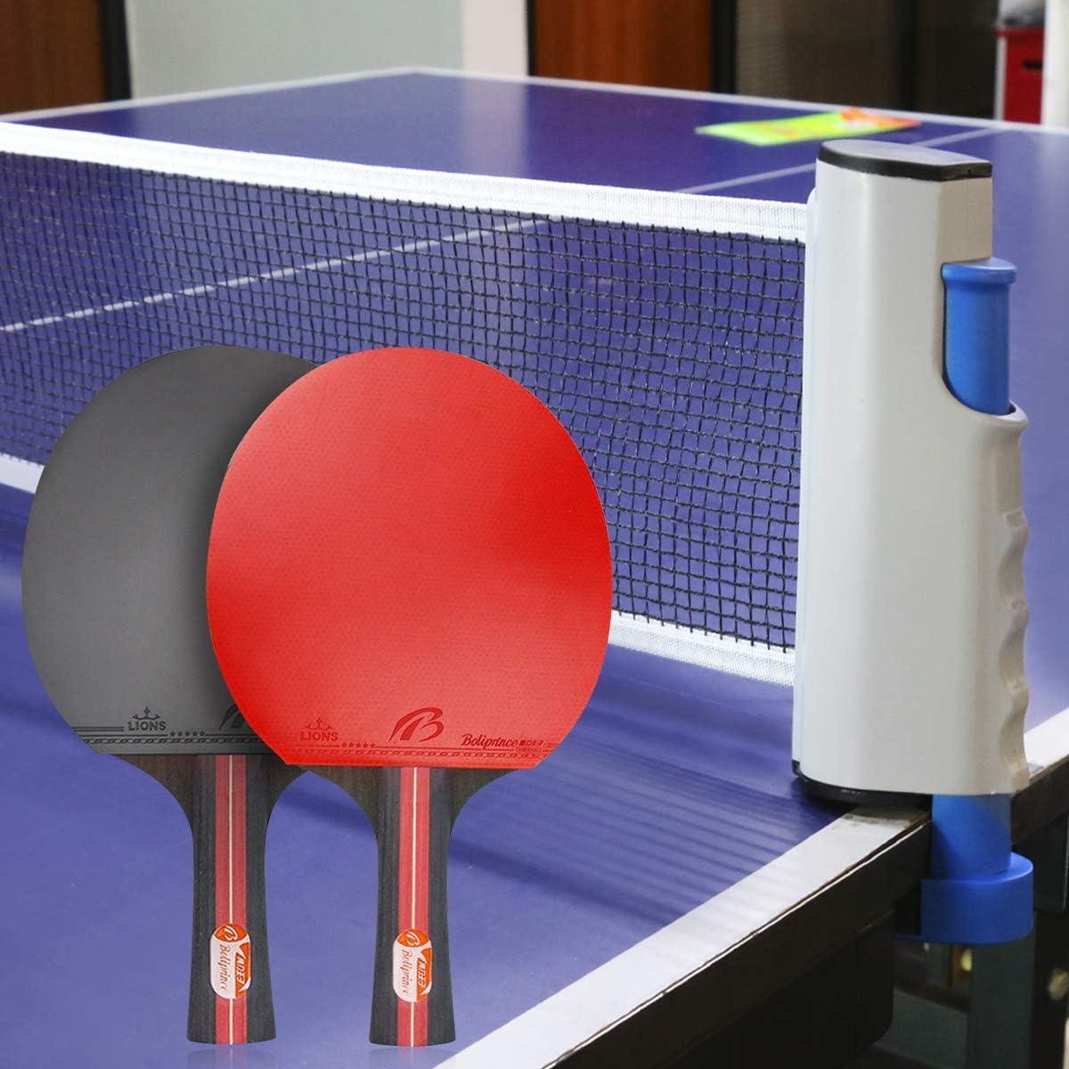 Powcan Conjunto de Tenis de Mesa con Red, 4 Raquetas + 8 Bolas ...