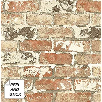 NextWall Weathered Red Brick Peel and Stick Wallpaper ...