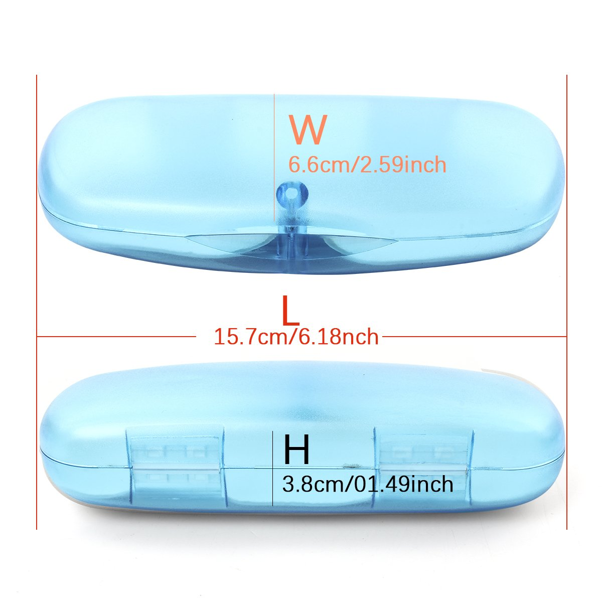 EZESO Glasses Case Spectacle Case Box Magnetic Closure Plastic Translucent Eyeglass Case