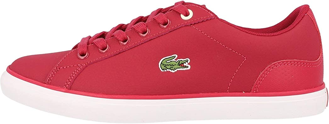 Lacoste Lerond 319 1 Dark Pink//Off White Synthetic Junior Trainers Shoes