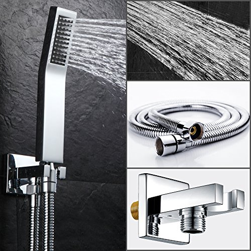SR SUN RISE SRSH-D1203 Bathroom Luxury Rain Mixer Shower Combo Set Wall Mounted Rainfall Shower Head System Polished Chrome (Shower Valve is NPT 1/2'') by SR SUN RISE (Image #2)