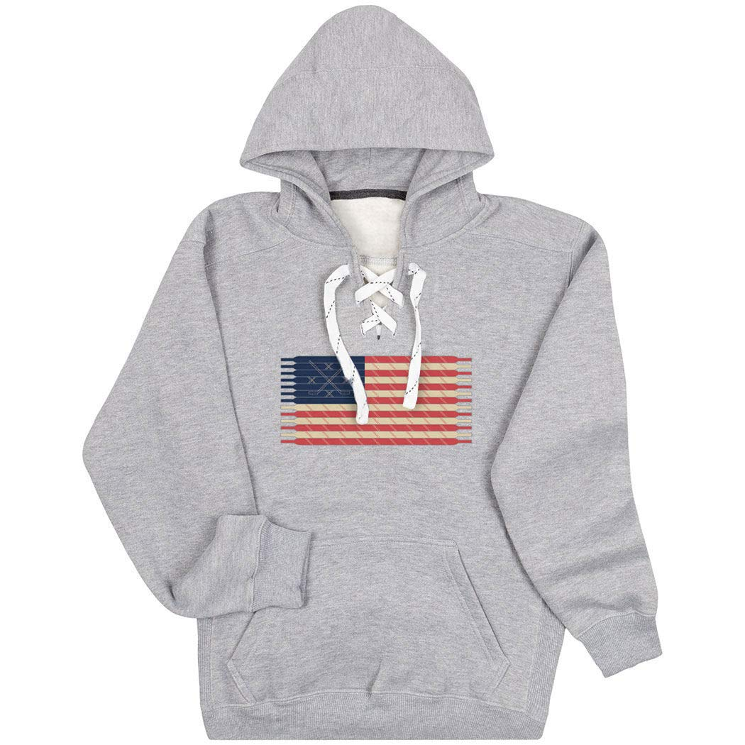 Hockey Sport Lace Sweatshirt | Hockey Laces Flag | Multiple...