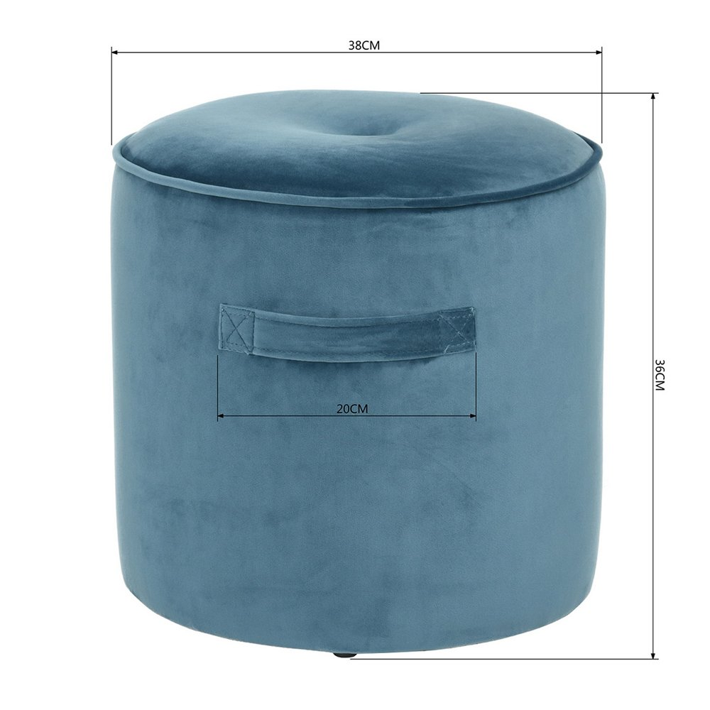 Fanilife Repose-Pieds Repose-Pieds Si/ège Ottoman Pouf Chaise Ronde Tabouret Velvet Luxury Cover Bleu