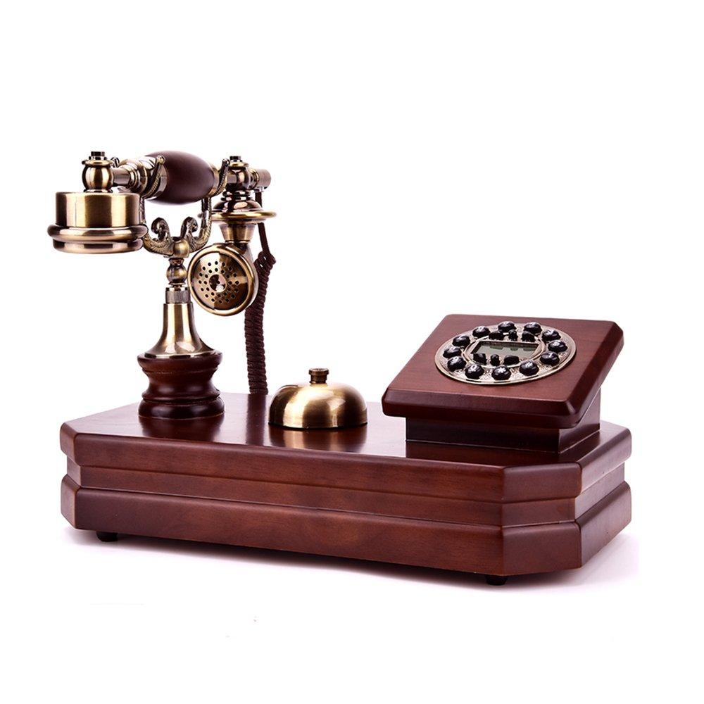 レトロ/アンティーク/ソリッドウッド/電話/キーダイヤル/発信者IDとその他の機能、有線電話で作られた木製と真鍮の固定電話 (Color : A+ringtone*1) B07PGFXPWW