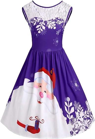 MIRRAY Boże Narodzenie moda damska sukienka wieczorowa elegancka sukienka koronkowa do kolan sukienka koktajlowa Święty Mikołaj impreza z nadrukiem sukienka: Odzież