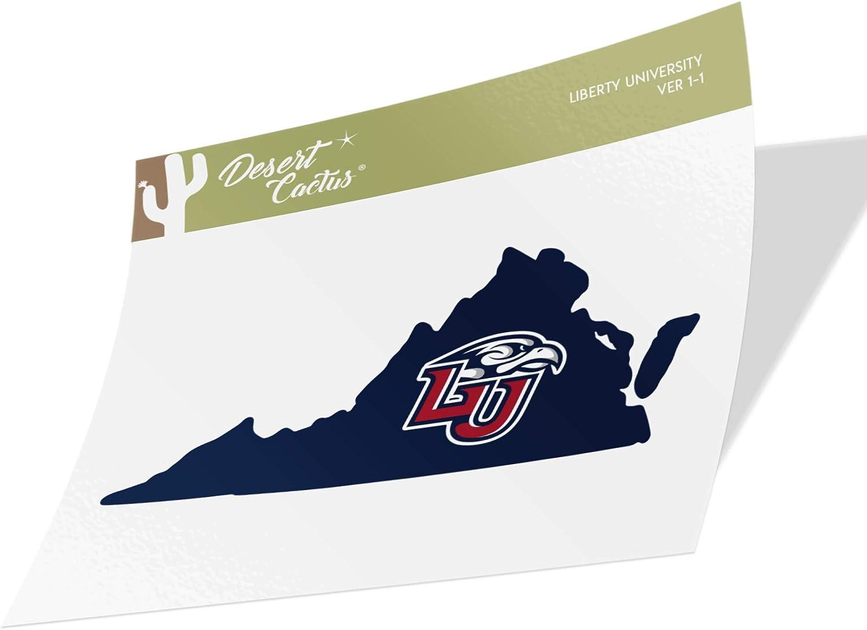 Liberty University Flames NCAA Vinyl Decal Laptop Water Bottle Car Scrapbook (State Boarder Sticker)