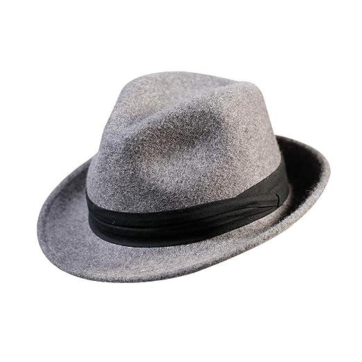 0910177a86a Fedora Trilby Hat-100% Wool Man s Felt Classic Manhattan Short Brim Cap for  Women