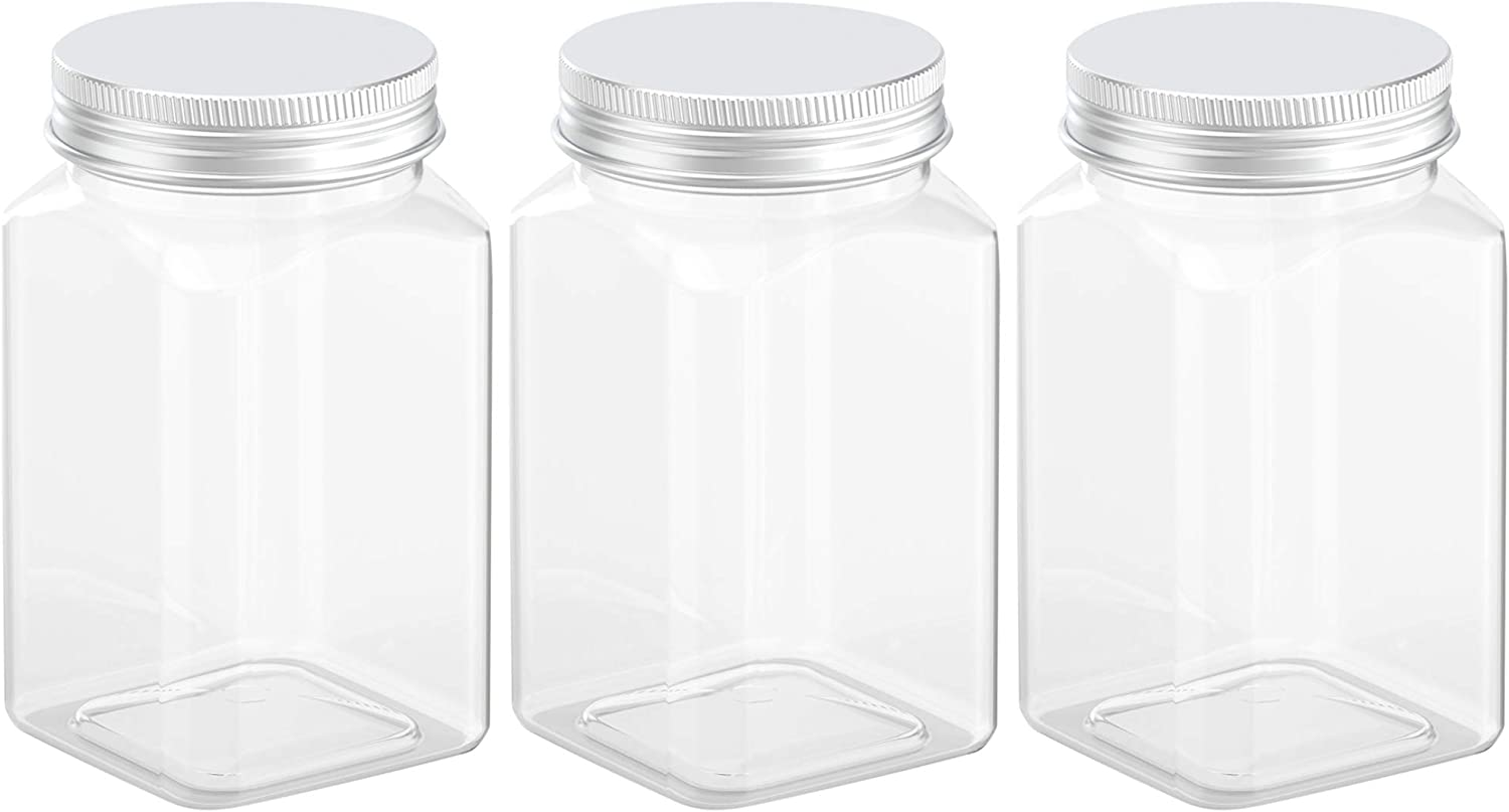 12 Ounce Clear Plastic Jars Storage Containers With Lids For Kitchen & Household Storage Airtight Container 3 PCS