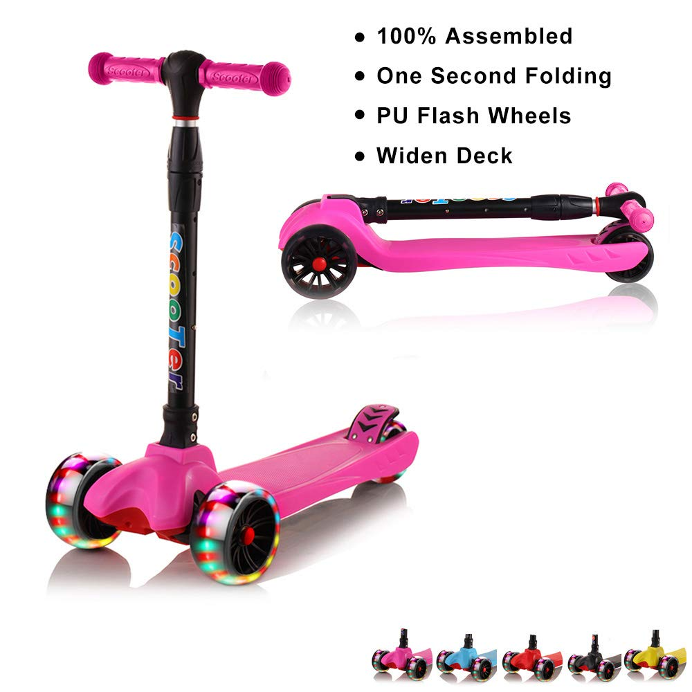 67i Kids Scooter Foldable Scooter for Kids 3 Wheel Toddler Scooter 4 Adjustable Height with PU Flashing Wheel Lean to Steer Kids Boys Girls Birthday Gift for Children from 2 to 12 Years Old