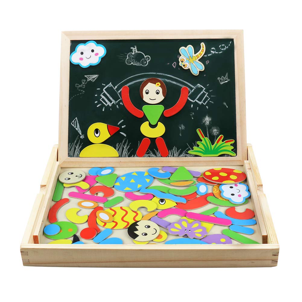 Jigsaw Puzzle Board | Wooden Double-sided Magnetic Jigsaw Puzzles | Drawing Blackboard | Wooden Toys for Kids Girls Boys 3 4 5 6 Years Old