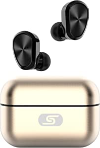 TWS Bluetooth 5.0 Wireless Earbuds SZSAGO W5s True Wireless Headphones for iPhone/Samsung IPX7 Waterproof Wireless Earphones with USB C Metal Charging case for Home Office,Work (Gold)