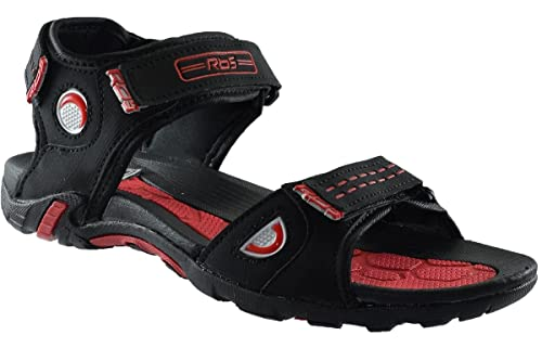 04daa871c JNG RBS Men Black Red Sandal - Size 10 UK  Buy Online at Low Prices in India  - Amazon.in