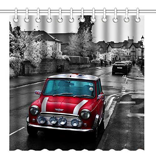 Wknoon 72 x 72 Inch Shower Curtain, Vintage Black and White Old Town Classic British Red Vehicle Car,Waterproof Polyester Fabric Decorative Bathroom Bath Curtains