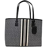 Tory Burch Gemini Link Canvas Black Large Tote Handbag