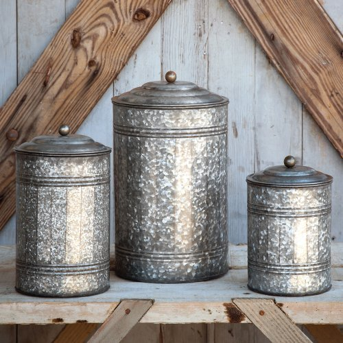 - INDIA OVERSEAS Antique Style Galvanized Tin Canister Set