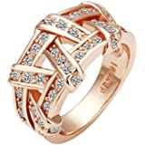 Hitaocity 18k Rose Gold Plated Rhinestone Simulated Weaves Wedding Engagement Promise Rings